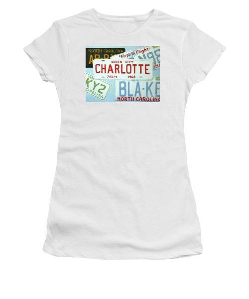 License Plates Women's T-Shirt (Junior Cut) by Stacy C Bottoms