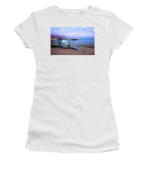 Lifeguard Tower And Malibu Beach Pier Seascape Fine Art Photograph Print Women's T-Shirt (Athletic Fit)