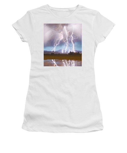 Lightning Striking Longs Peak Foothills 4c Women's T-Shirt (Athletic Fit)