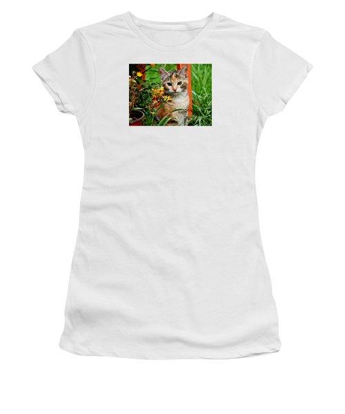 Women's T-Shirt (Junior Cut) featuring the photograph Lily Garden Cat by VLee Watson
