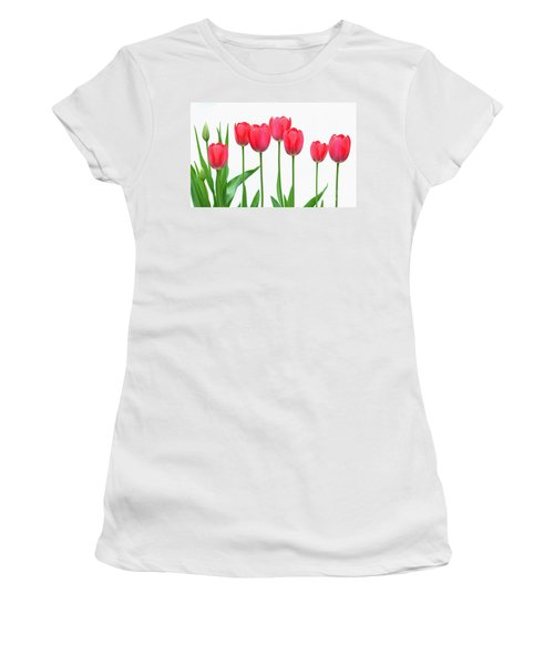 Women's T-Shirt (Junior Cut) featuring the photograph Line Of Tulips by Steve Augustin