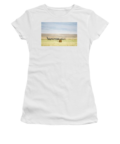 Lioness Panthera Leo Looking At A Herd Women's T-Shirt