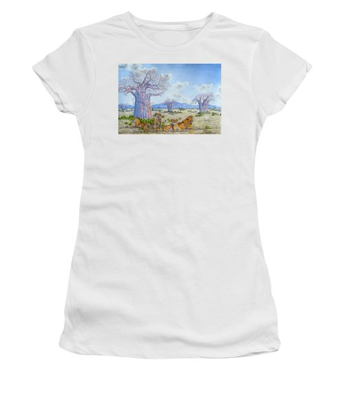 Lions By The Baobab Women's T-Shirt