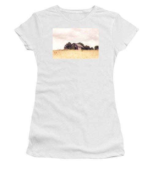 Women's T-Shirt (Junior Cut) featuring the photograph Little Old Barn In A Field - Landscape  by Gary Heller