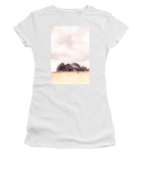 Women's T-Shirt (Junior Cut) featuring the photograph Little Old Barn In The Field - Ontario County New York State by Gary Heller