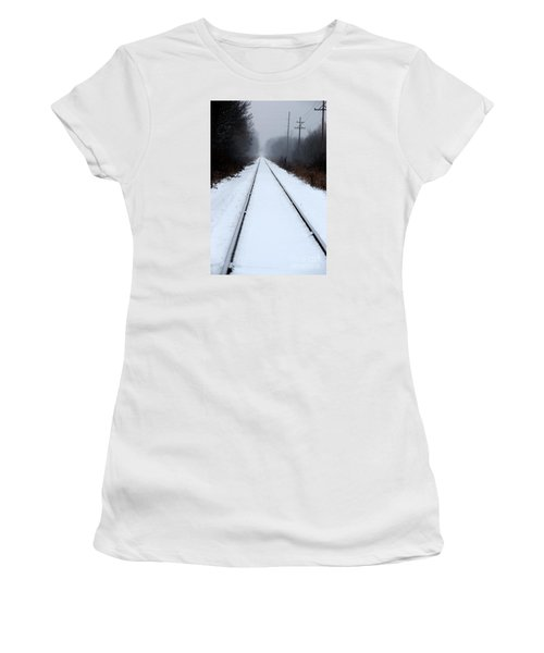 Women's T-Shirt featuring the photograph Lonesome Rail by Linda Shafer