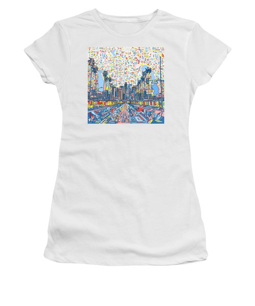 Los Angeles Skyline Abstract 3 Women's T-Shirt (Athletic Fit)