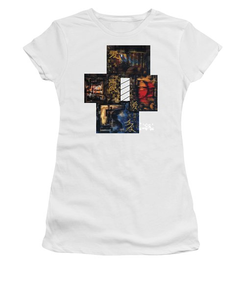 Women's T-Shirt (Junior Cut) featuring the painting Love Four Seasons by Fei A