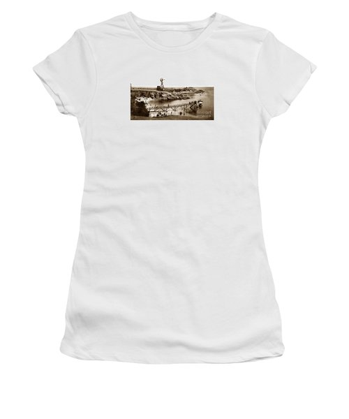 Lovers Point Beach And Old Wooden Pier Pacific Grove August 18 1900 Women's T-Shirt