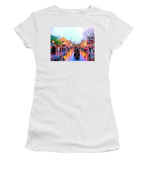 Women's T-Shirt (Junior Cut) featuring the photograph Mainstreet Disneyland by David Lawson
