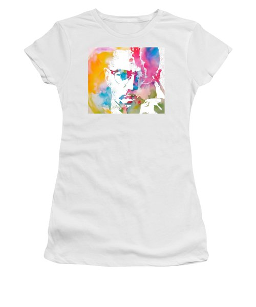 Women's T-Shirt featuring the painting Malcolm X Watercolor by Dan Sproul