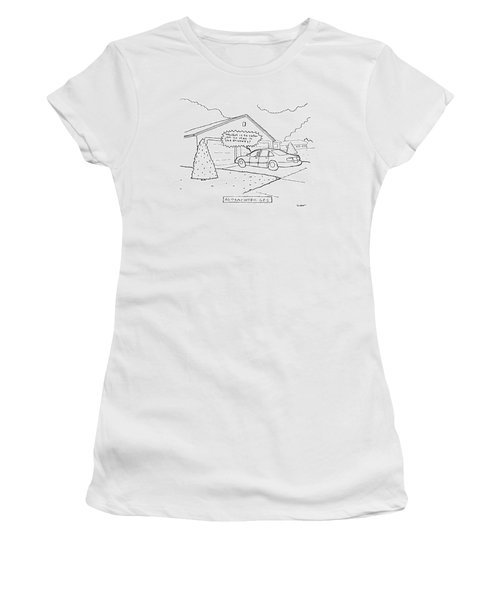Man Sitting In His Car In The Driveway Women's T-Shirt