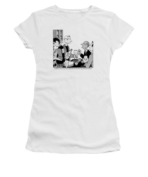 Man Speaks To Couple Over Kitchen Counter Women's T-Shirt