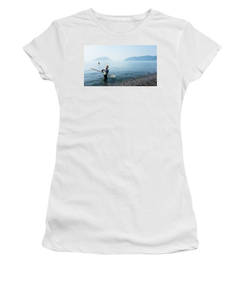Man With A Net Women's T-Shirt (Athletic Fit)