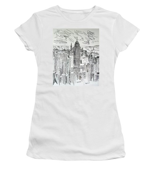 Women's T-Shirt (Junior Cut) featuring the drawing Manhattan by Janice Rae Pariza
