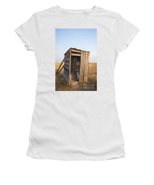 Mannequin Sitting In Old Wooden Outhouse Women's T-Shirt