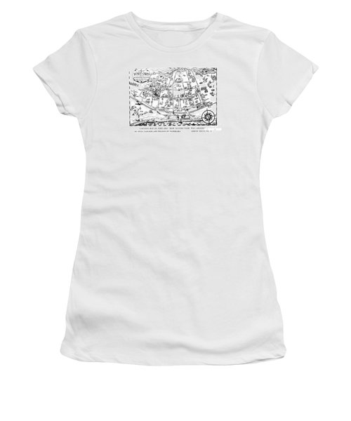 Map Of Fort Ord Army Base Monterey California Circa 1950 Women's T-Shirt (Athletic Fit)