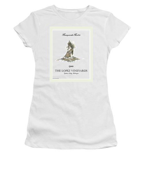 Masquerade Merlot Women's T-Shirt (Junior Cut) by Julio Lopez