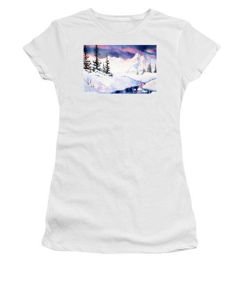 Women's T-Shirt (Junior Cut) featuring the painting Matanuska Sunset Impression by Teresa Ascone