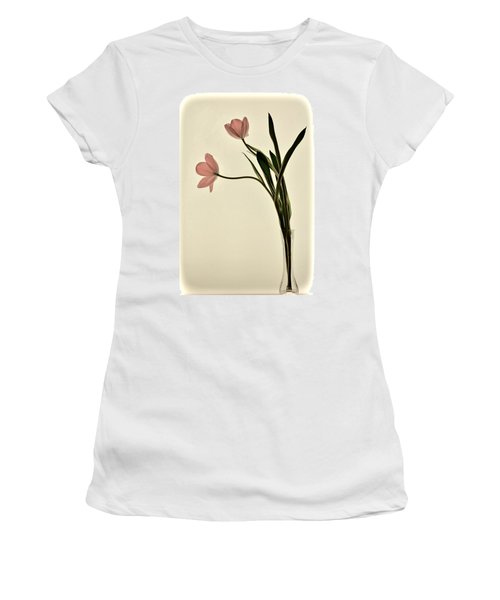 Mauve Tulips In Glass Vase Women's T-Shirt (Athletic Fit)