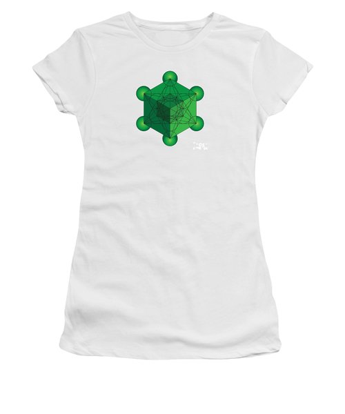 Metatron's Cube In Green Women's T-Shirt (Athletic Fit)