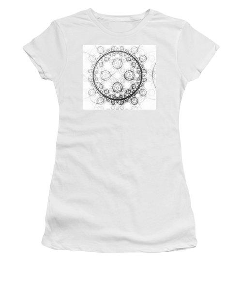 Minimalist Fractal Art Black And White Circles Women's T-Shirt