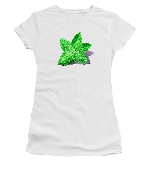 Women's T-Shirt (Junior Cut) featuring the painting Mint Leaves by Irina Sztukowski