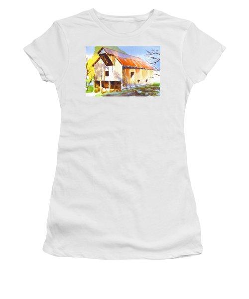 Missouri Barn In Watercolor Women's T-Shirt (Junior Cut) by Kip DeVore
