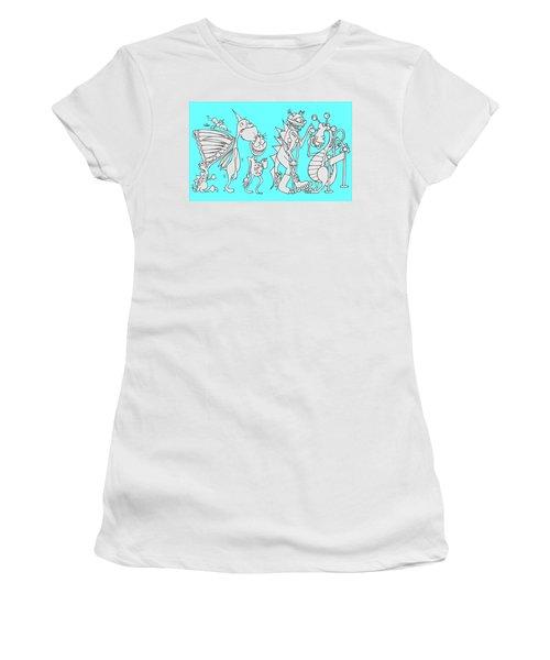 Monster Queue Blue Women's T-Shirt