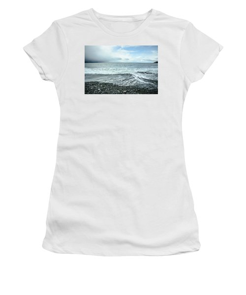 Moody Waves French Beach Women's T-Shirt (Junior Cut) by Roxy Hurtubise