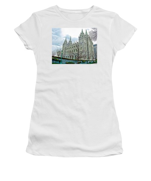 Mormon Temple In Early Spring Women's T-Shirt (Athletic Fit)