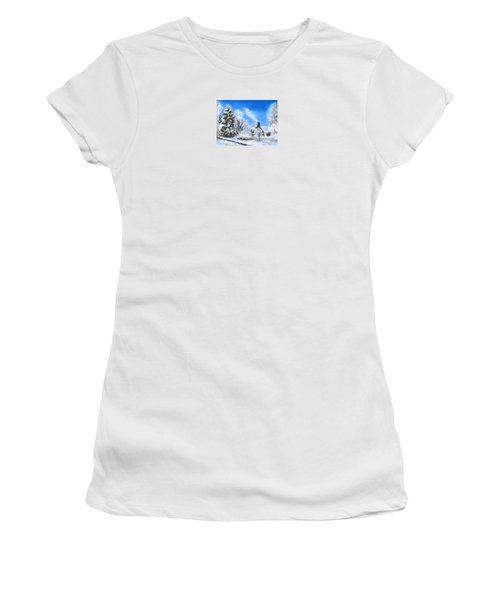 Women's T-Shirt (Junior Cut) featuring the painting Morning After The Snowstorm  by Jean Pacheco Ravinski