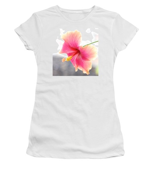 Morning Hibiscus In Gentle Light - Square Macro Women's T-Shirt (Junior Cut) by Connie Fox