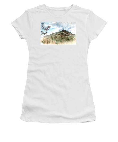 Women's T-Shirt featuring the painting Mountain Rain by Ashley Kujan