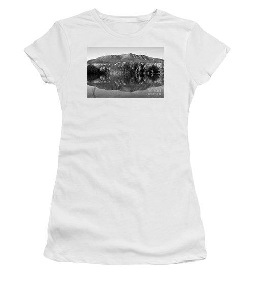 Mt Katahdin Black And White Women's T-Shirt (Junior Cut)