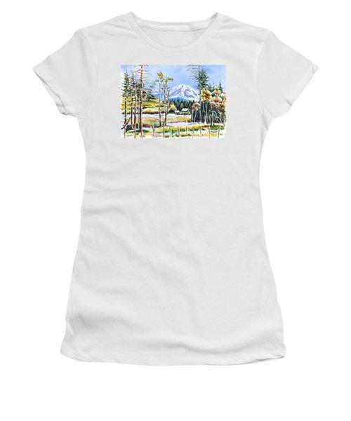 Elk Head On Mt Rainier  Women's T-Shirt (Athletic Fit)