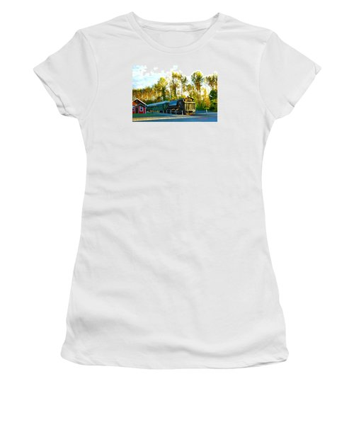 Mt Rainier W A Scenic Railroad Women's T-Shirt (Junior Cut) by Sadie Reneau