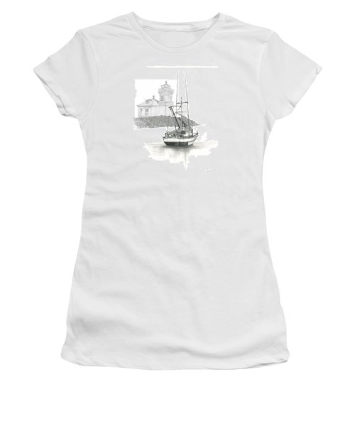 Women's T-Shirt (Junior Cut) featuring the drawing Mukilteo Lighthouse by Terry Frederick