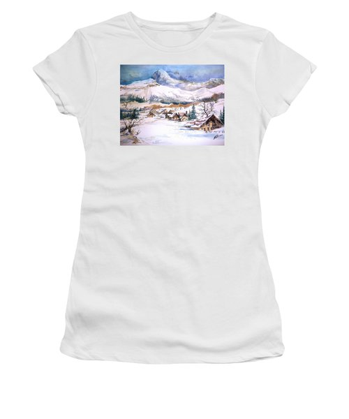 My First Snow Scene Women's T-Shirt (Athletic Fit)