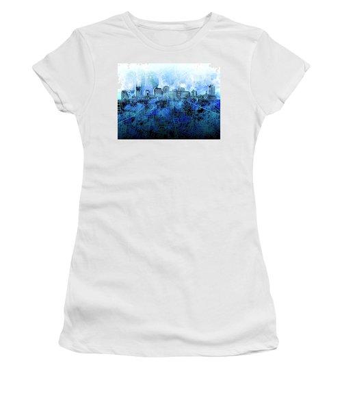 Nashville Skyline Watercolor 3 Women's T-Shirt (Athletic Fit)