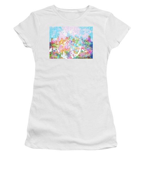 Nashville Skyline Watercolor 8 Women's T-Shirt (Athletic Fit)