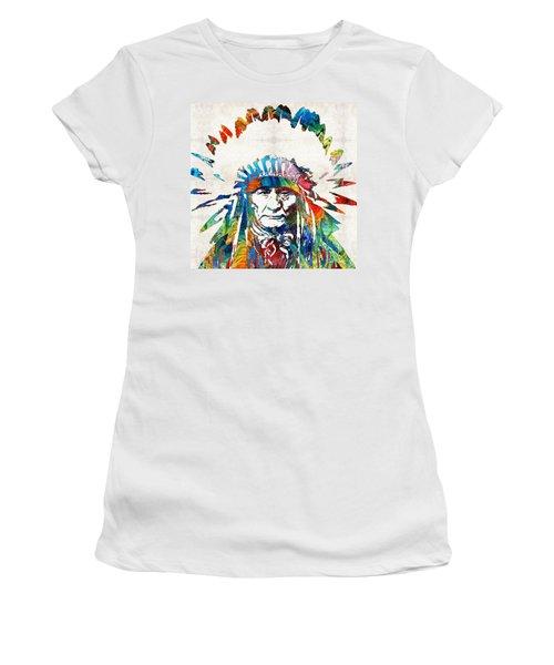 Native American Art - Chief - By Sharon Cummings Women's T-Shirt