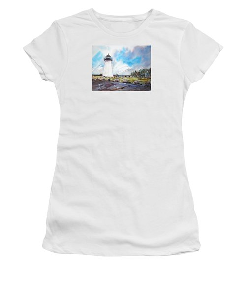 Ned's Point Light Women's T-Shirt (Junior Cut) by P Anthony Visco