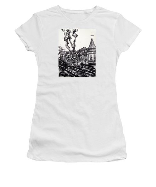 New Hope Train Station Sketch Women's T-Shirt (Junior Cut) by Loretta Luglio