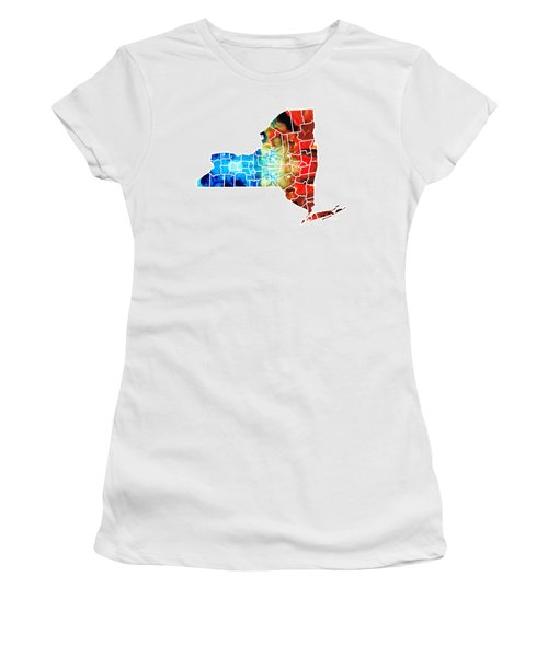 New York - Map By Sharon Cummings Women's T-Shirt (Athletic Fit)