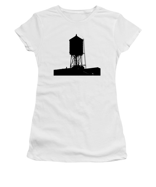 Women's T-Shirt featuring the photograph New York Water Tower 17 - Silhouette - Urban Icon by Gary Heller