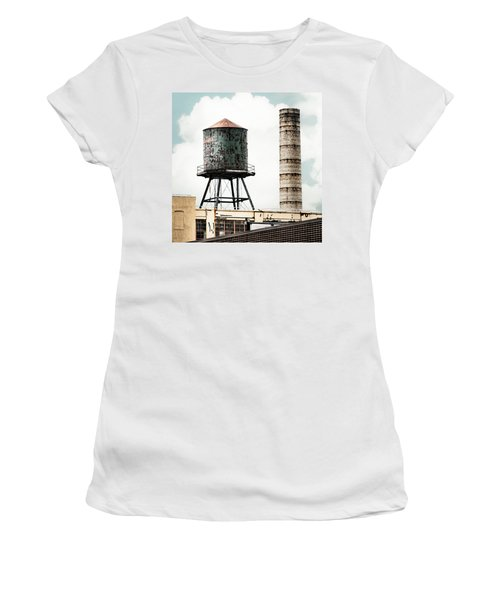 Women's T-Shirt featuring the photograph Water Tower And Smokestack In Brooklyn New York - New York Water Tower 12 by Gary Heller