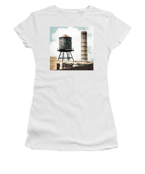 Water Tower And Smokestack In Brooklyn New York - New York Water Tower 12 Women's T-Shirt