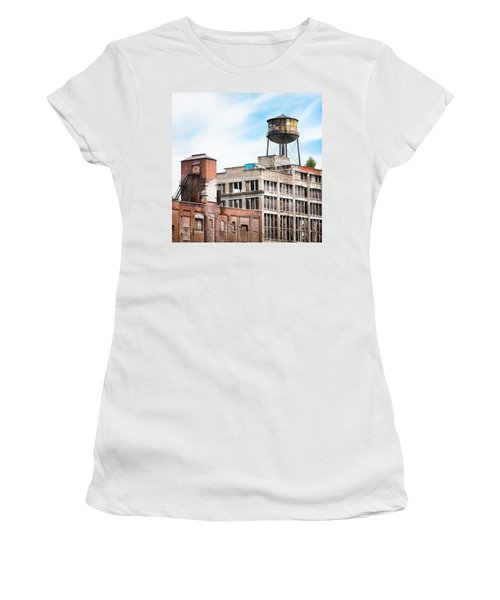 Women's T-Shirt (Junior Cut) featuring the photograph New York Water Towers 18 - Greenpoint Water Tower by Gary Heller