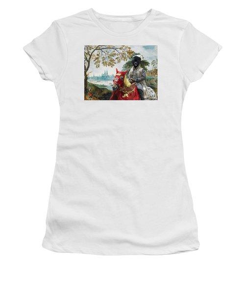 Newfoundland Art - Pasague With Duke Women's T-Shirt (Athletic Fit)